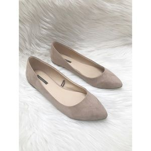 Nude Pointed Toe Faux Suede Flats